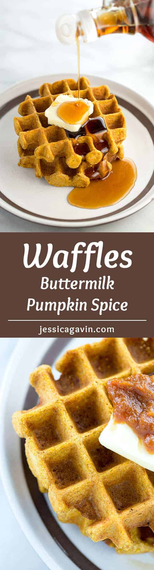Buttermilk Pumpkin Spice Waffles - Wake up to some delicious waffles with homemade pumpkin butter! Packed with cinnamon, ginger, nutmeg and cloves in each bite.