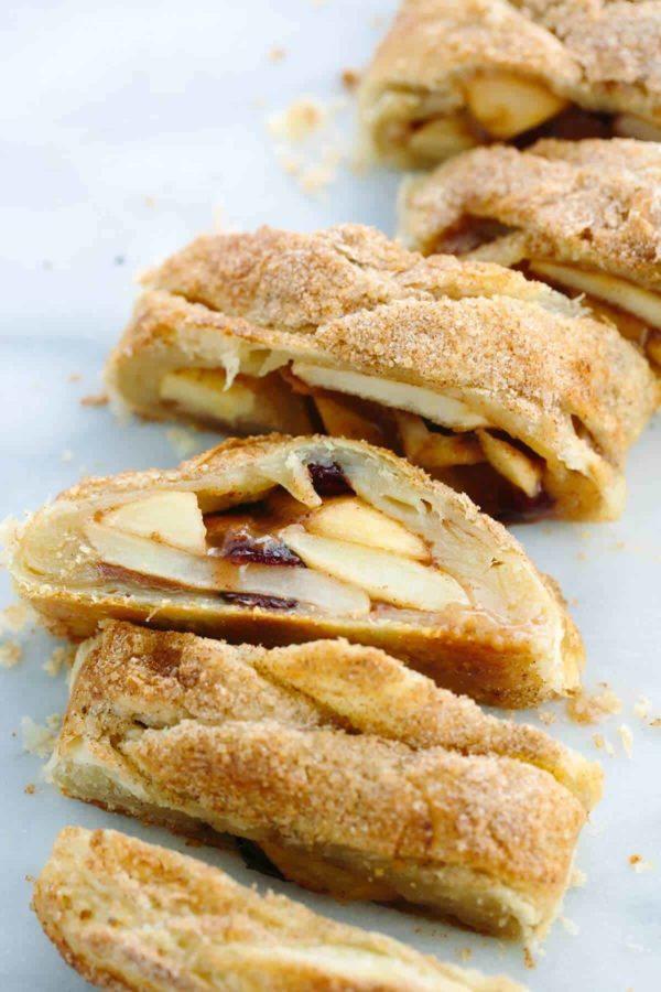 apple Strudel cut into several slices