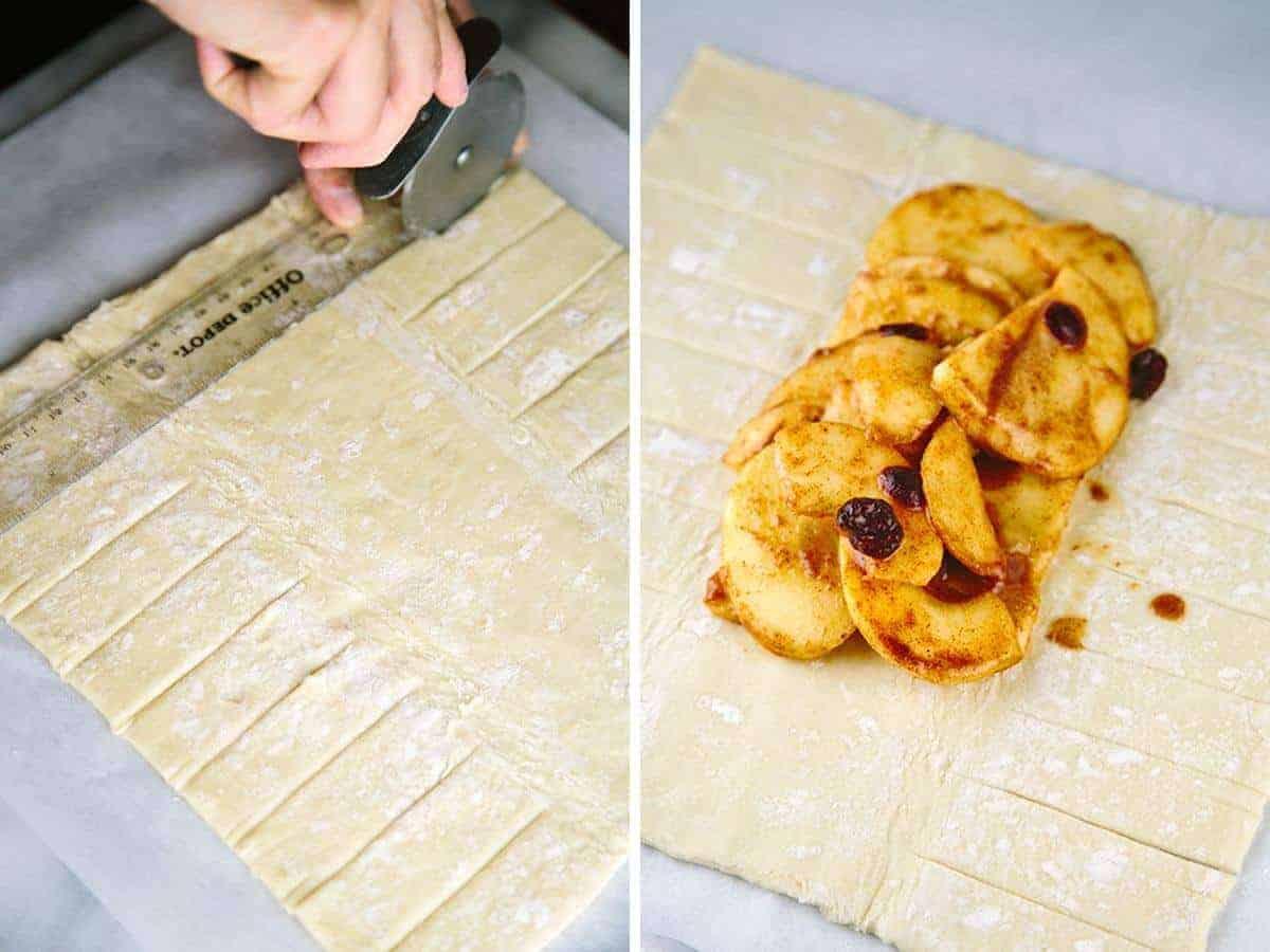 Measuring the puff pastry for delicious apple strudel dessert | jessicagavin.com