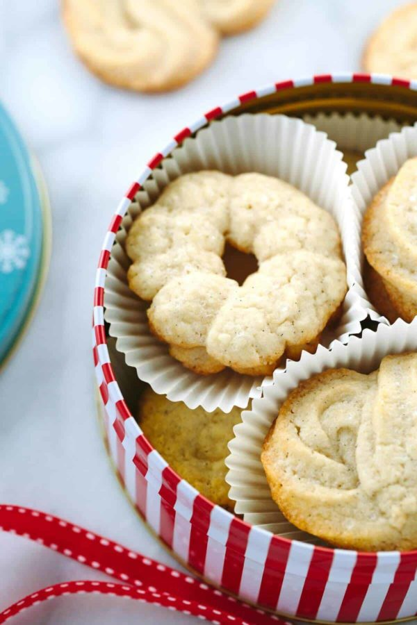 Vanilla Danish butter cookies in a red and white stripped tin