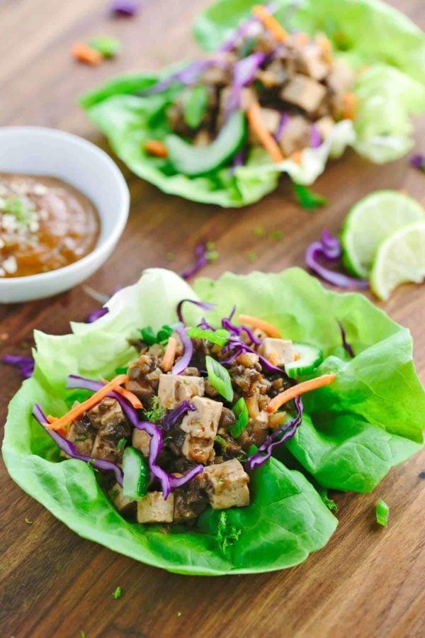 Tofu Lettuce Wraps with Peanut Sauce