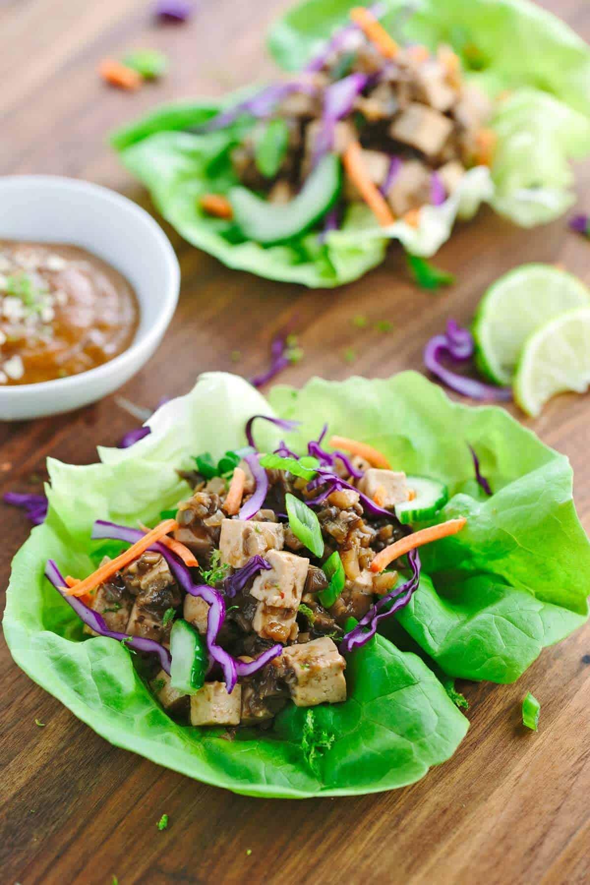 Asian Vegetable Lettuce Wrap with Peanut Sauce
