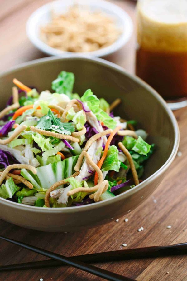 Chinese Chicken Salad Recipe - This healthy recipe is tossed in tangy soy ginger dressing and packed with fresh vegetables in each bite. | jessicagavin.com