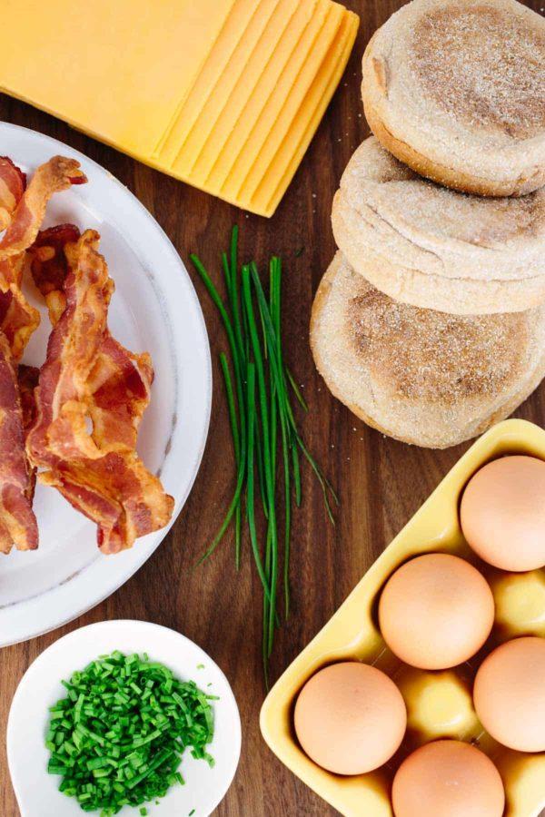 ingredients for freezer friendly bacon breakfast sandwiches