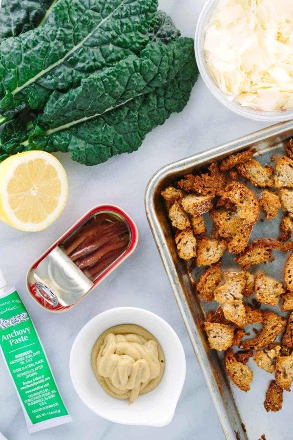 Ingredients for a kale caesar salad recipe