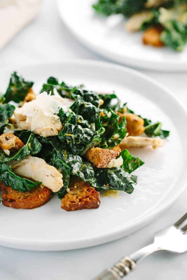 Chicken Kale Caesar Salad with Croutons
