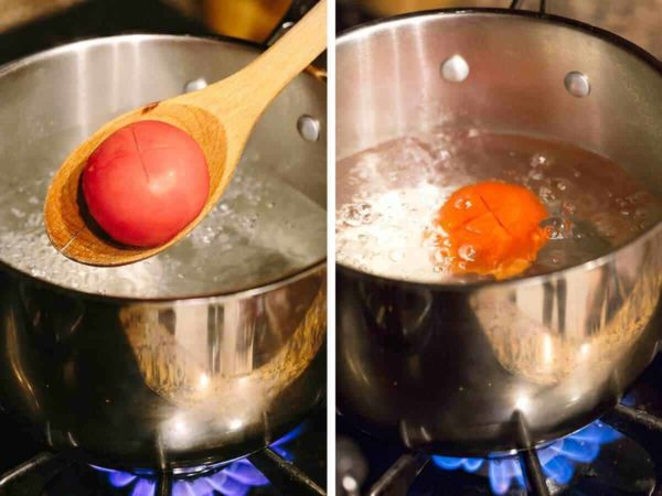Boiling a tomato after carving an X into one of the sides
