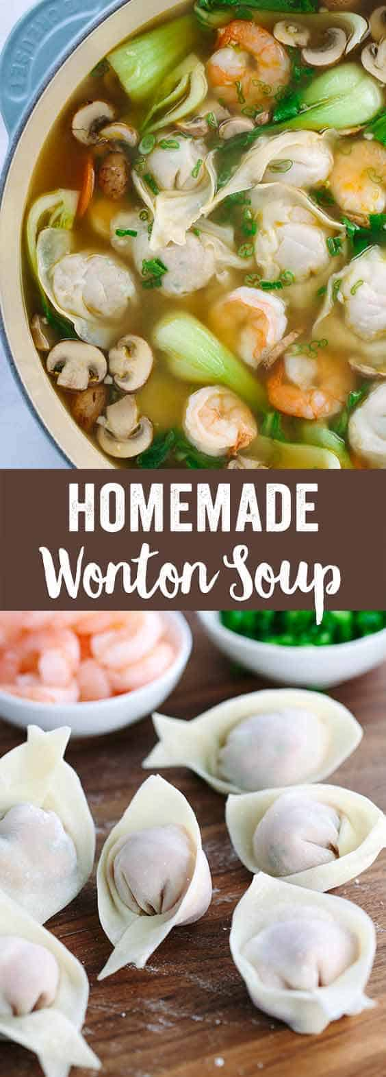 Easy Homemade Wonton Soup Recipe - Each hearty bowl is packed with plump pork dumplings, fresh vegetables, and jumbo shrimp. This authentic Asian meal is fun to make! #chinese #soup #wonton