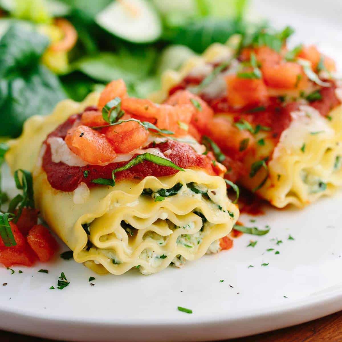 Homemade Italian Lasagna Rolls With Vegetables