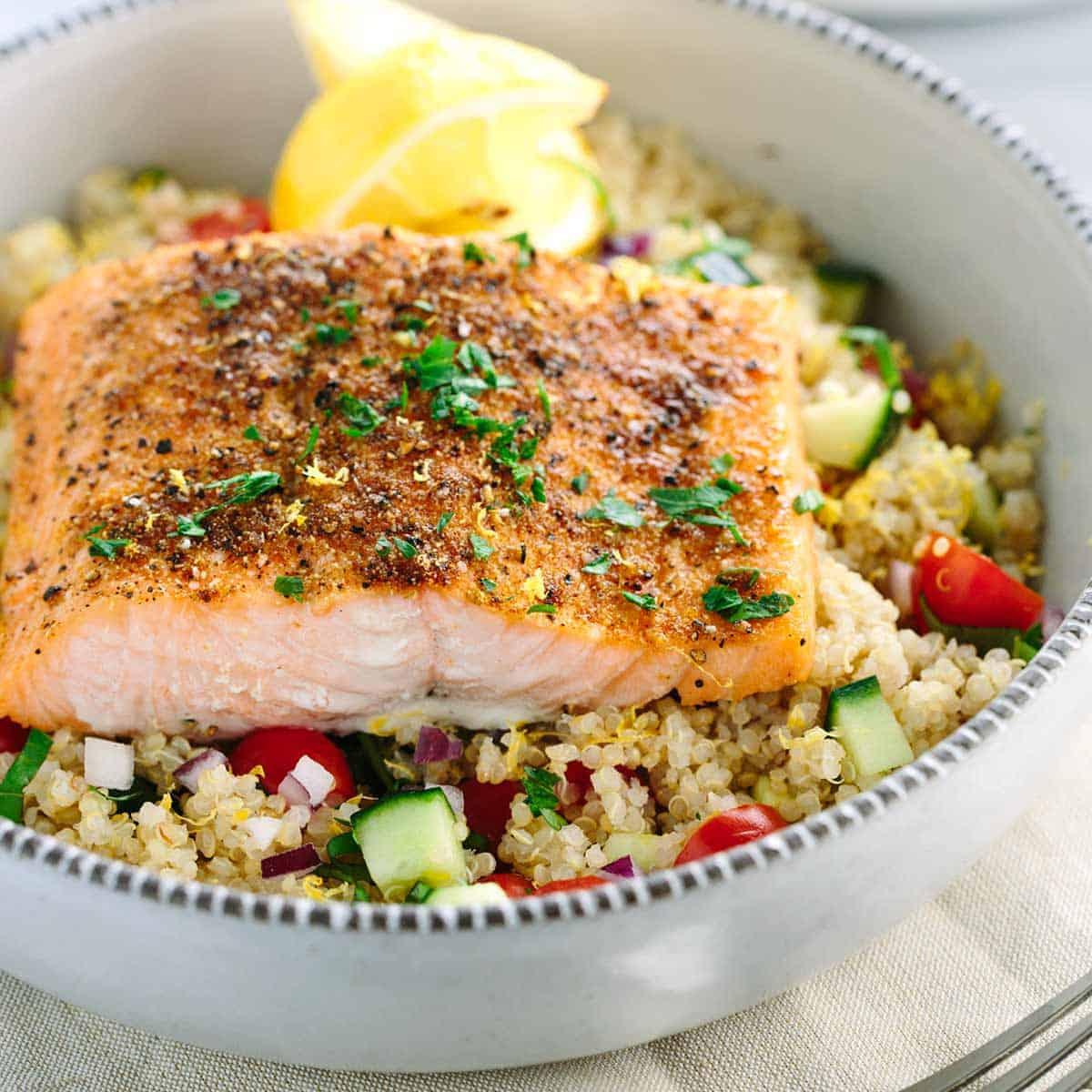 Mediterranean Salmon And Vegetable Quinoa Jessica Gavin
