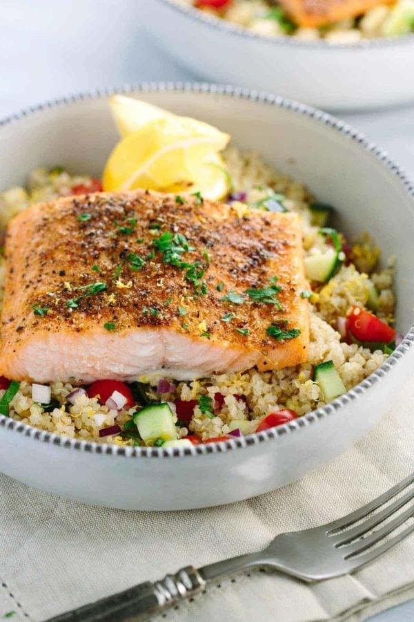 Mediterranean Salmon and Vegetable Quinoa