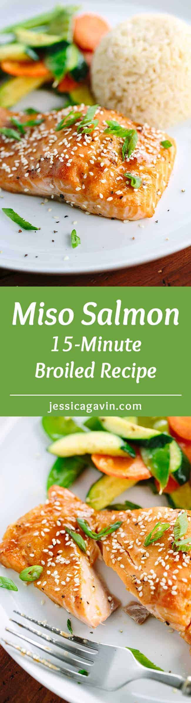15 Minute Miso Glazed Salmon Recipe - broiled and drizzled with miso and soy for maximum flavor.