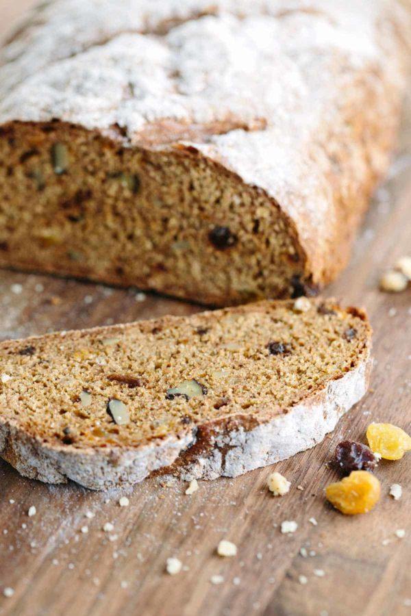 Irish soda bread with raisins and walnuts