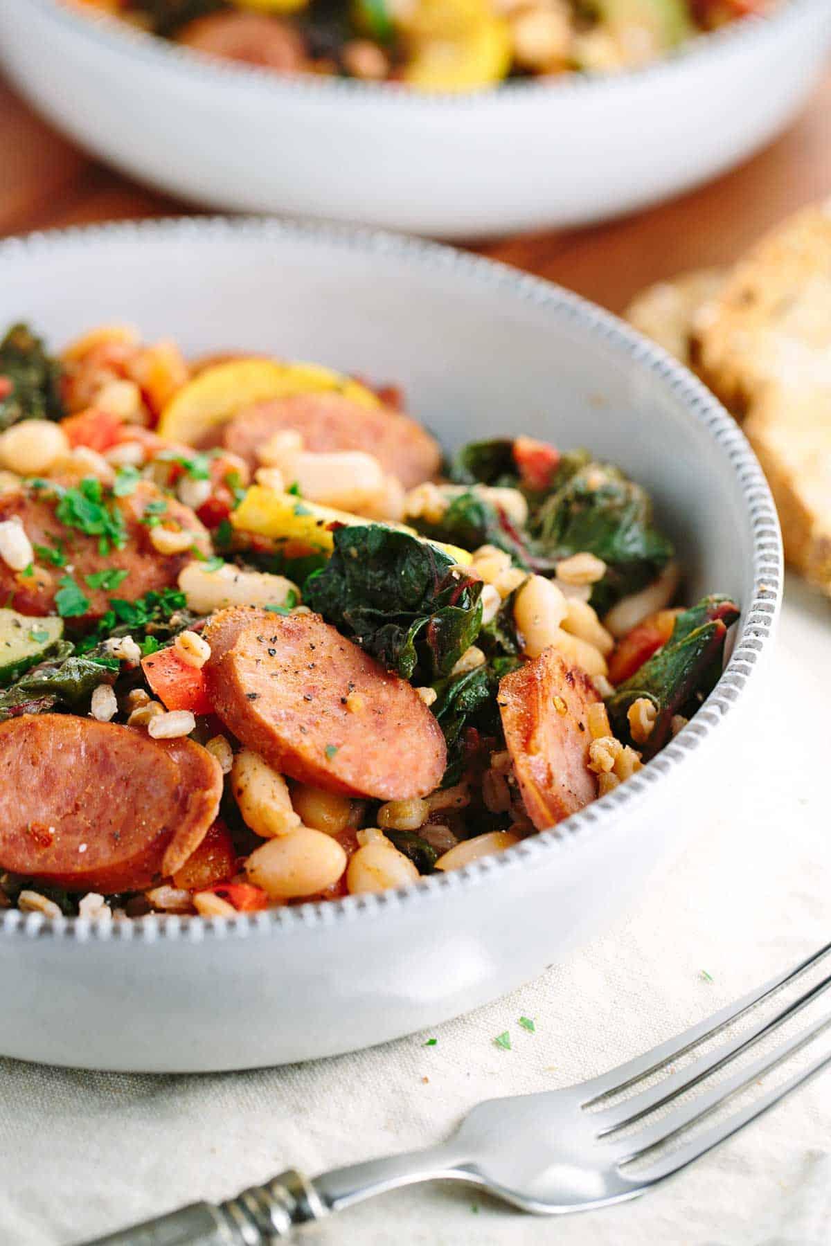 italian white bean vegetable farro stew with sausage jessica gavin