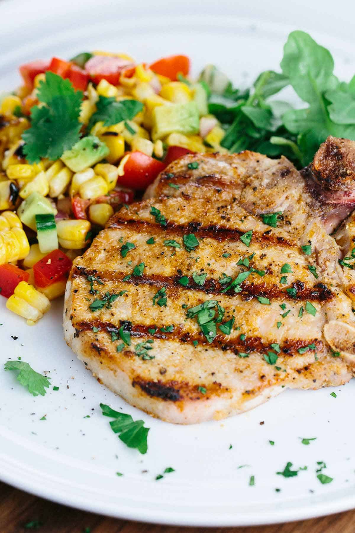 Spiced Grilled Pork Chops With Charred Corn Salad  Fire Up The Grill For A  Delicious