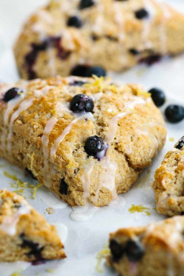 scones with lemon glaze drizzled on top