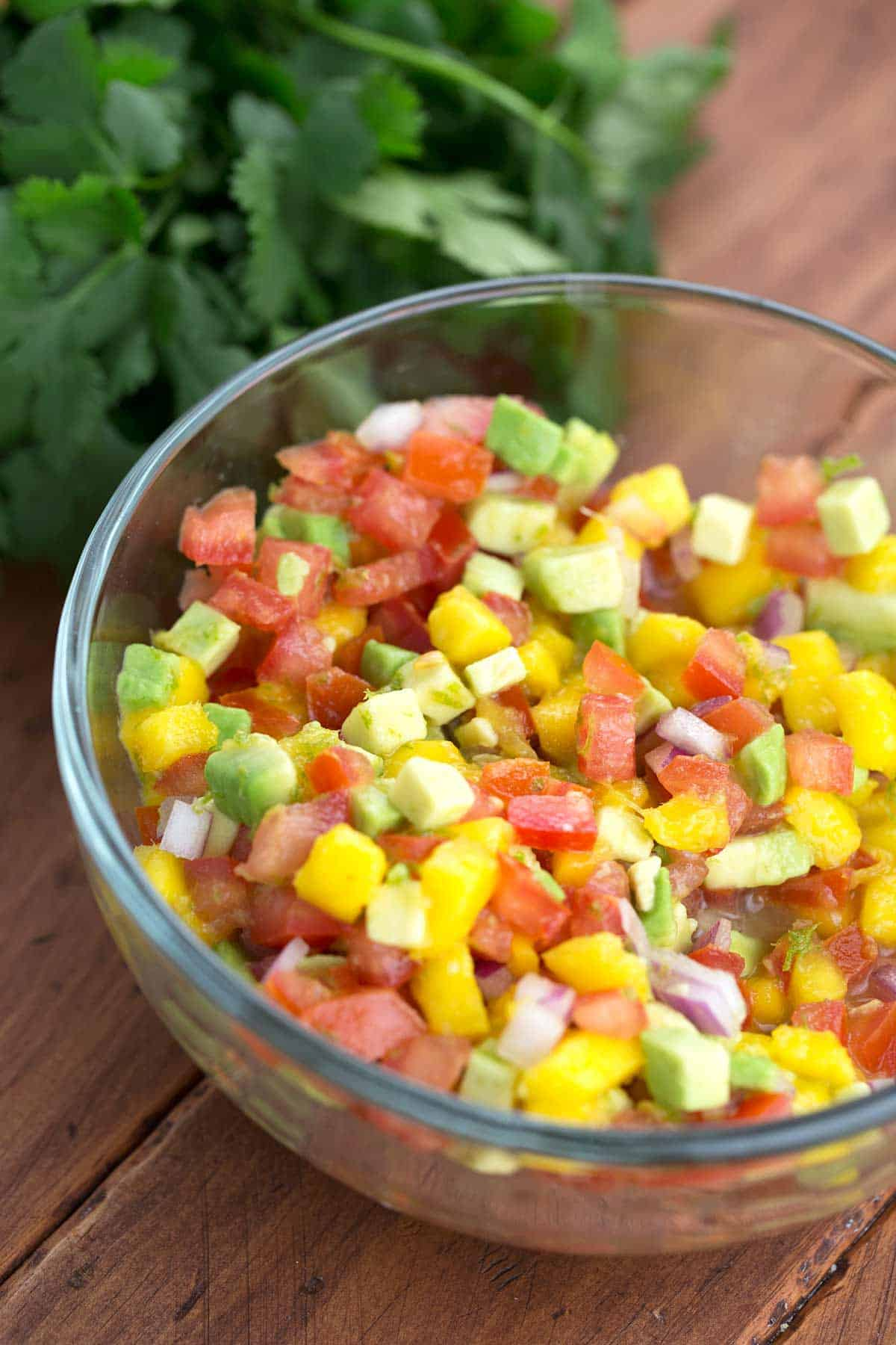 Freshly chopped fruit for a delicious healthy mango salsa