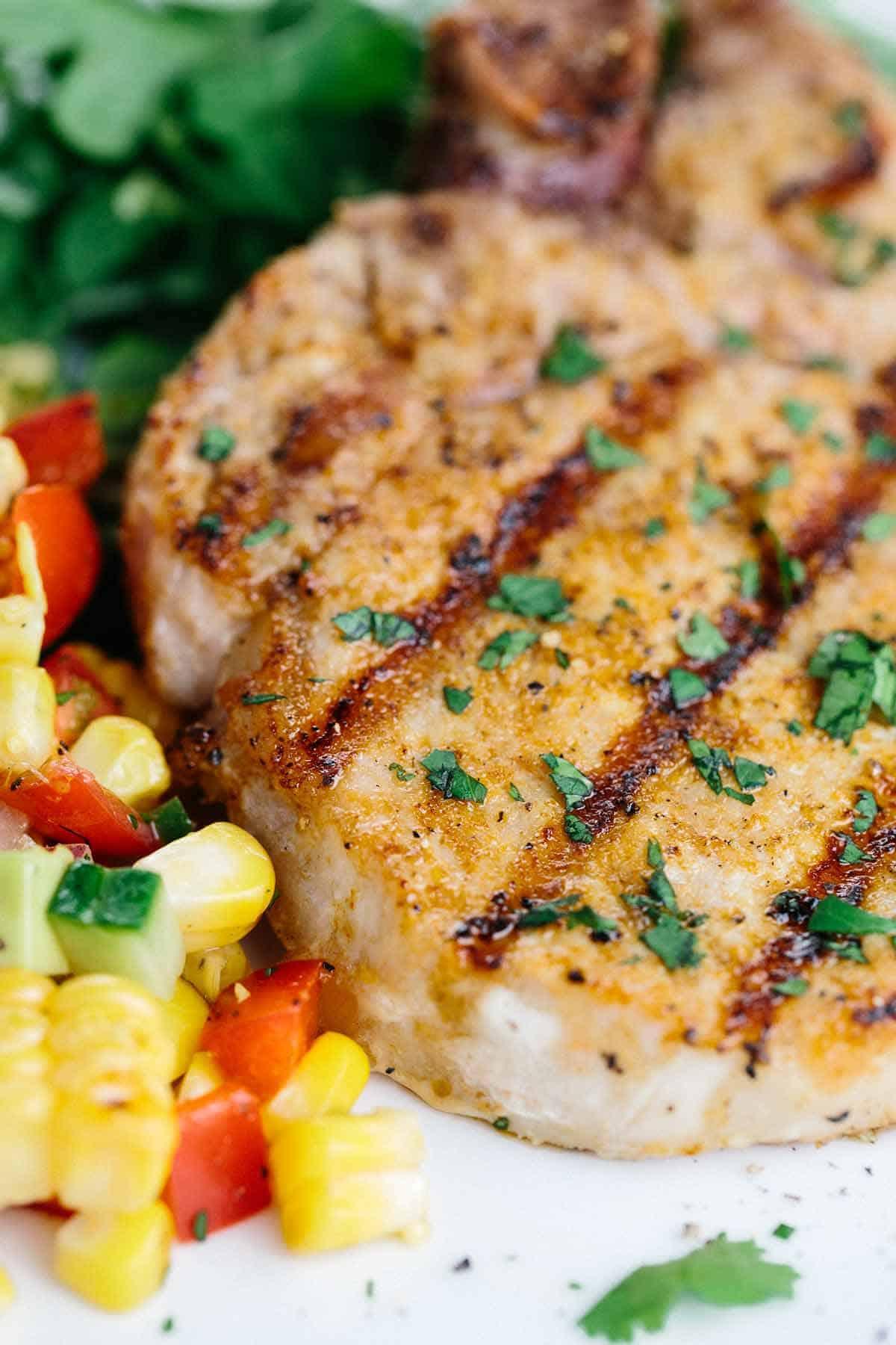 Spiced Pork Chops with Corn Salad