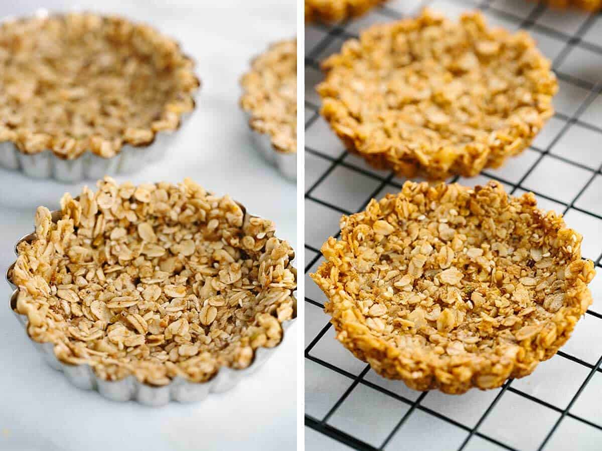 How to make the outer granola shell for the fruit tart