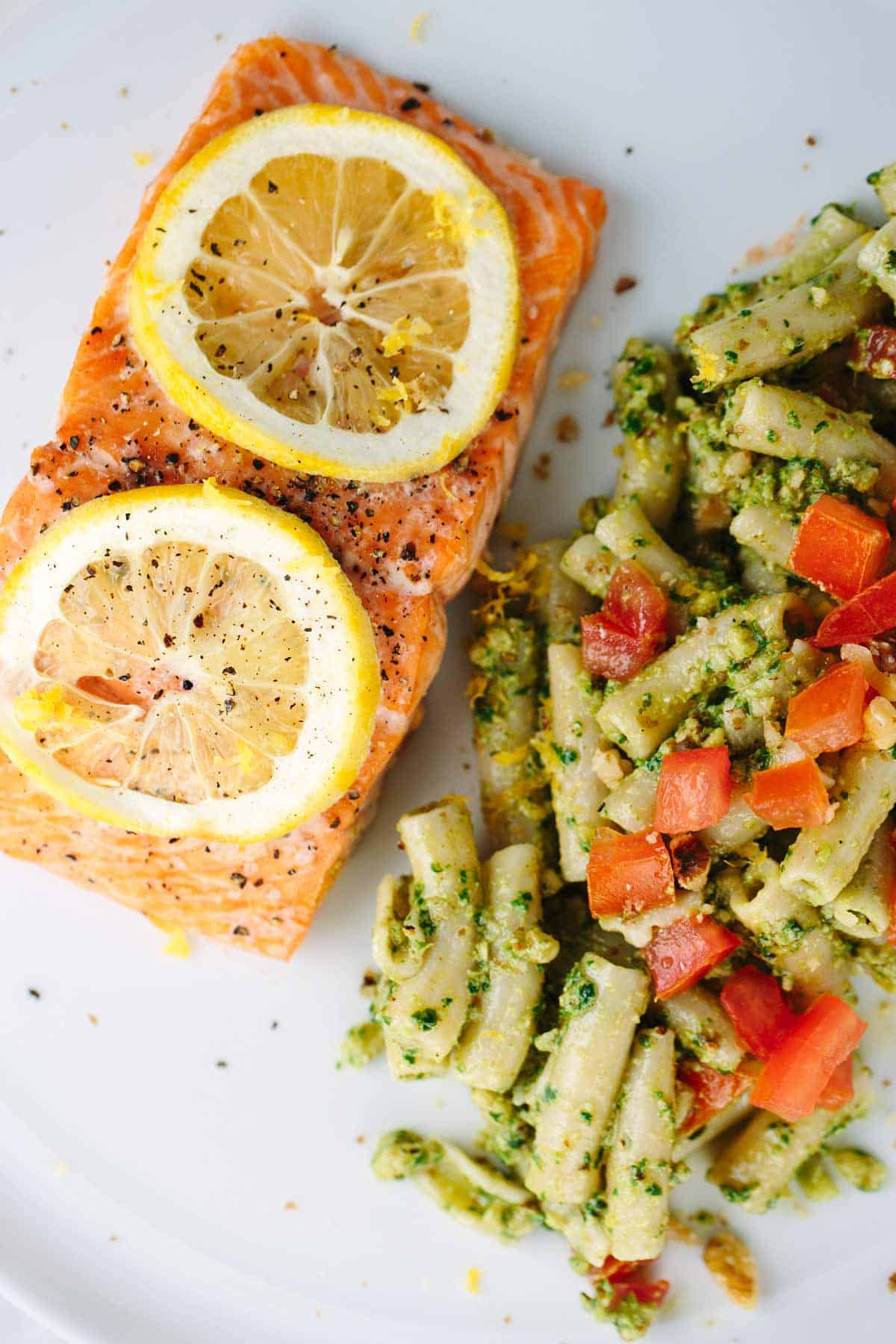 Roasted Lemon Salmon Fillets With Pesto Pasta  A Fresh And Wholesome  Mediterraneaninspired Recipe