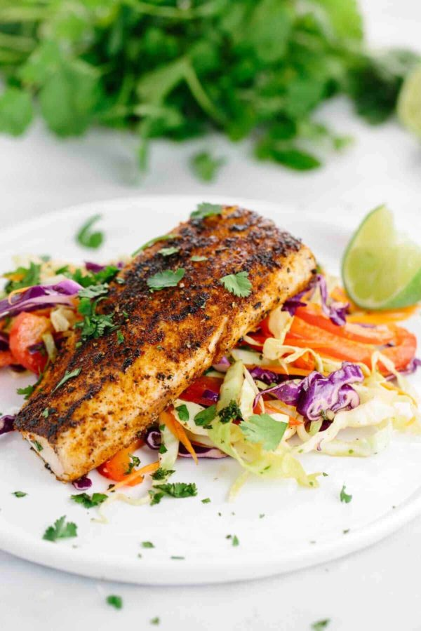 pan seared Mahi Mahi recipe with crunchy coleslaw