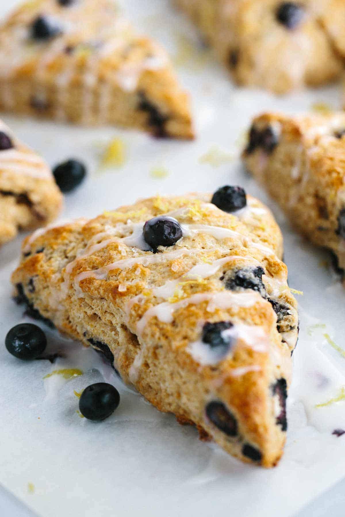 Whole Wheat Blueberry Scones with Lemon Glaze | Jessica Gavin