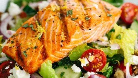 Salmon Greek Salad With Lemon Basil Dressing Jessica Gavin