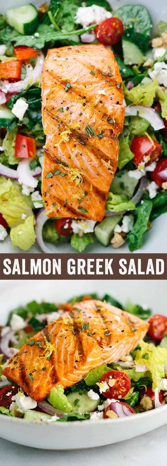 Salmon Greek Salad with Lemon Basil Dressing - A light and healthy recipe that tastes amazing! Crisp vegetables are tossed in a tangy lemon basil dressing and topped with flaky salmon.