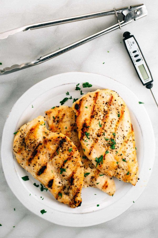 grilled chicken breasts on a plate after checking internal temperature