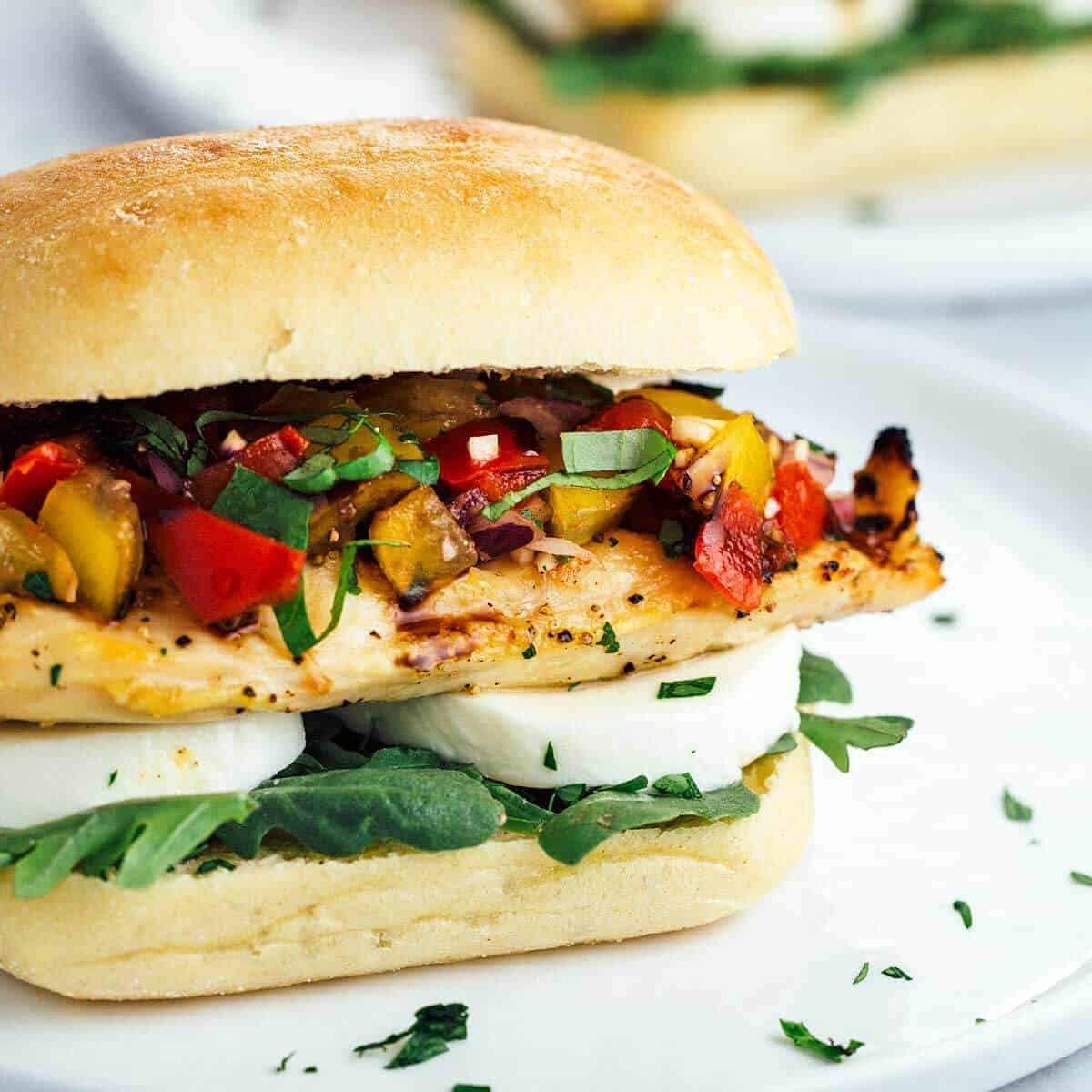 Grilled Chicken Bruschetta Sandwich on Ciabatta Bread ...