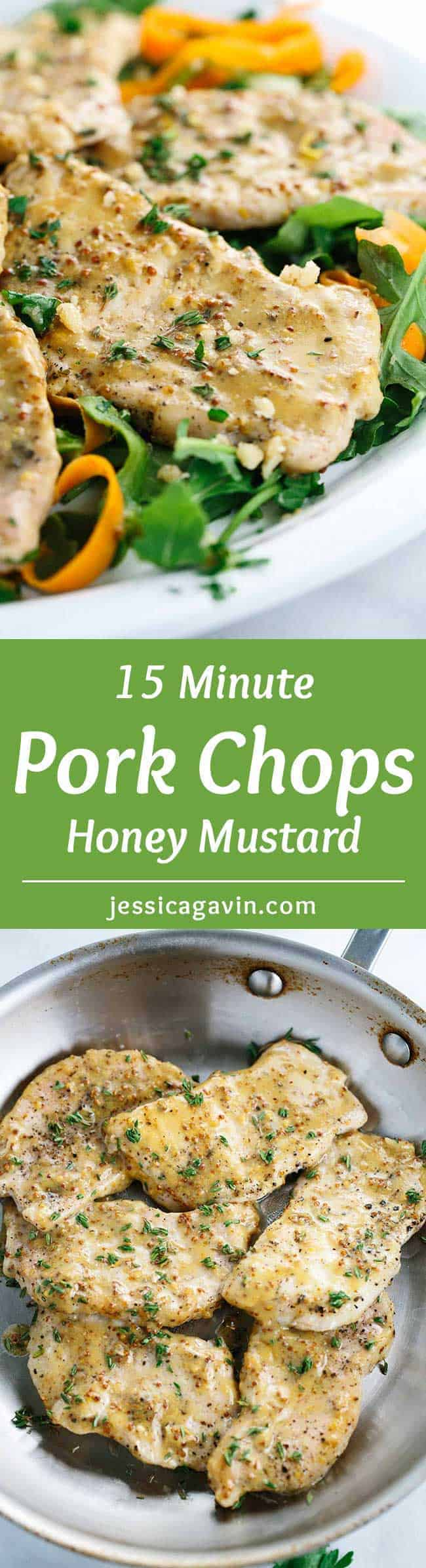 15 Minute Honey Mustard Pork Chops - In a rush for dinner? Here\'s a quick recipe for sauteed lean pork glazed with a tangy and sweet mustard sauce.