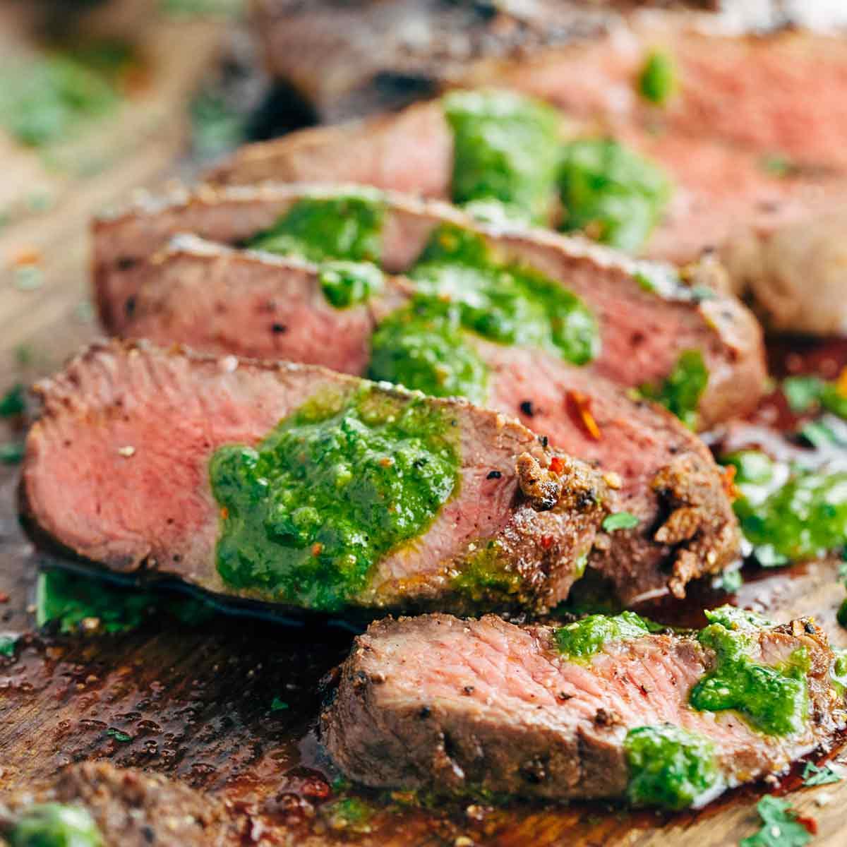 Grilled Flat Iron Steak With Chimichurri Sauce Jessica Gavin