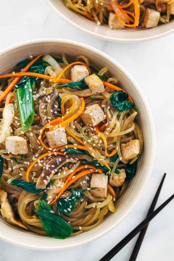 Japchae Korean glass noodles in a bowl with tofu