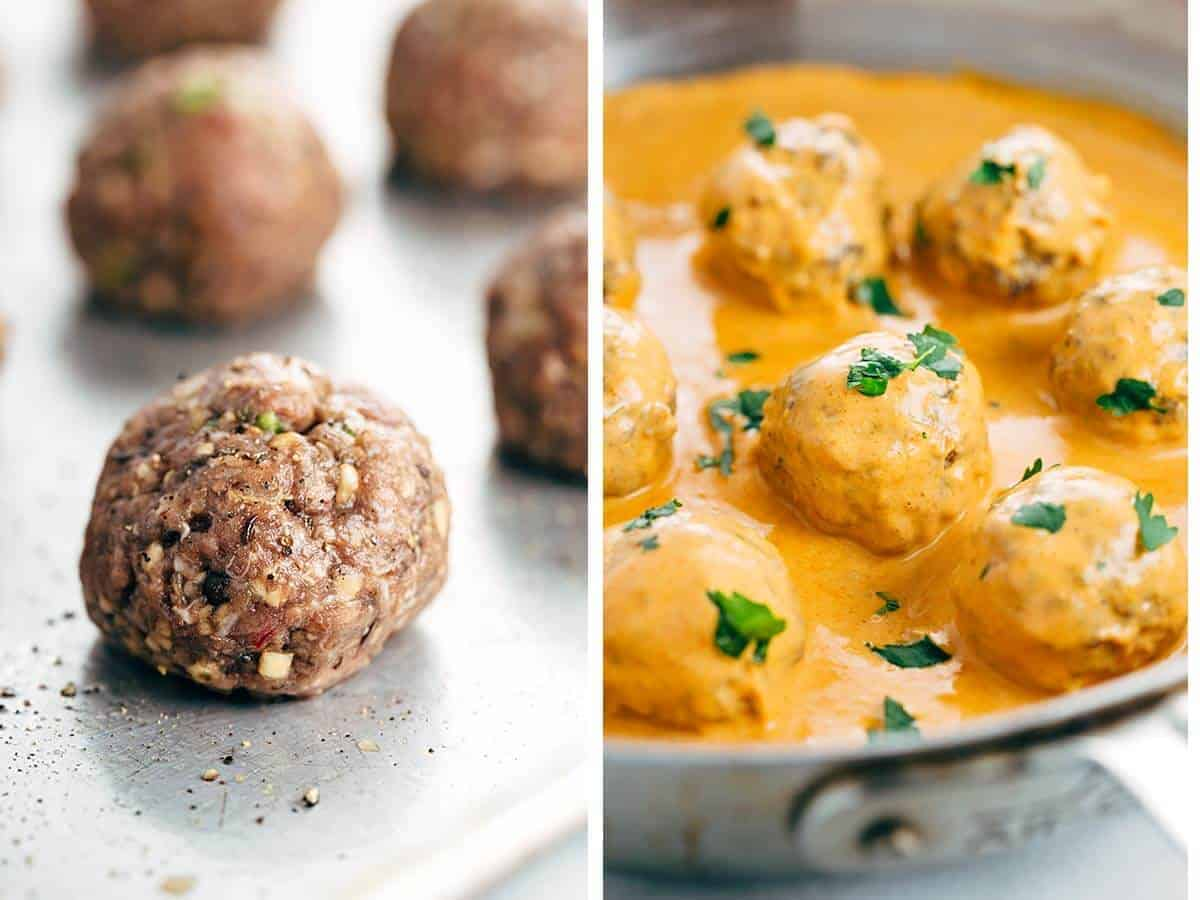 Coconut Curry Meatballs with Spiralized Vegetables - A grain-free recipe infused with exotic flavors! Served with healthy paleo-friendly vegetables. | jessicagavin.com