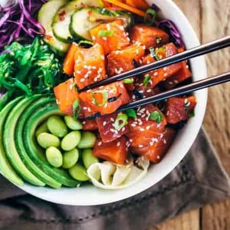 Spicy Salmon Poke Bowls
