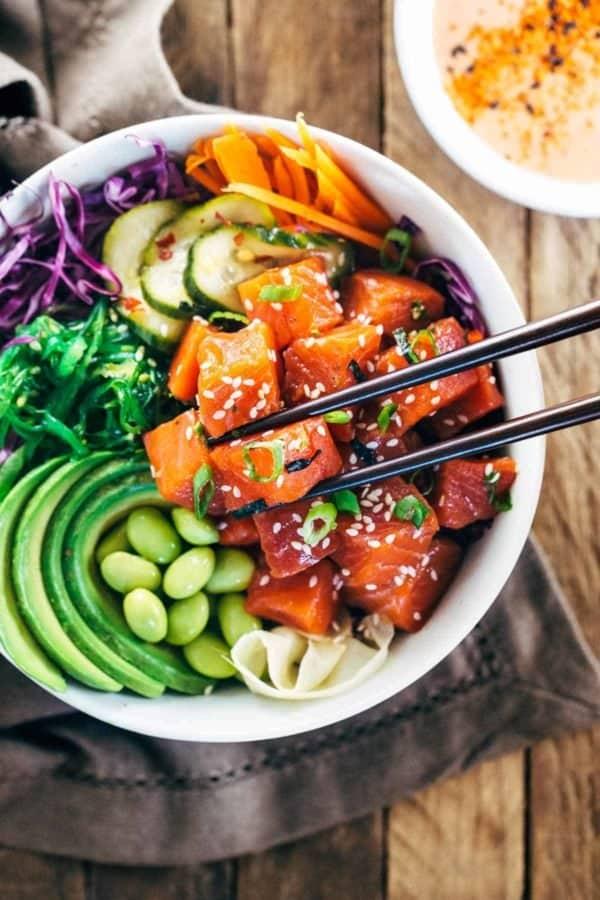 spicy sockeye salmon poke bowls