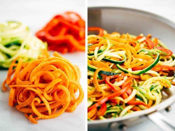 Spiralized raw vegetables and sautéed vegetable noodles