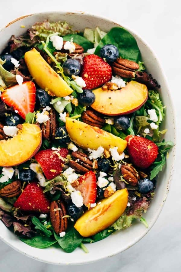 fruit salad with peach poppy seed dressing
