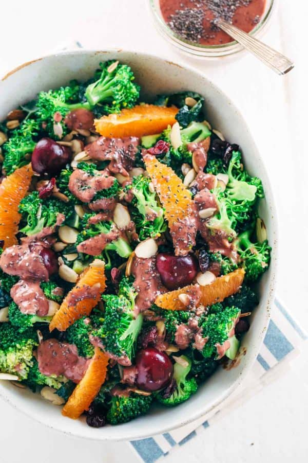 Superfood Broccoli Salad with Cherry Chia Dressing - Packed with eight different nutrient rich ingredients for a wholesome and satisfying dish! | jessicagavin.com