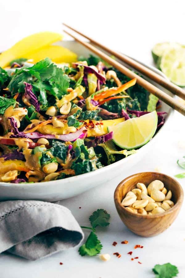 bowl of crunchy Thai salad with creamy peanut dressing