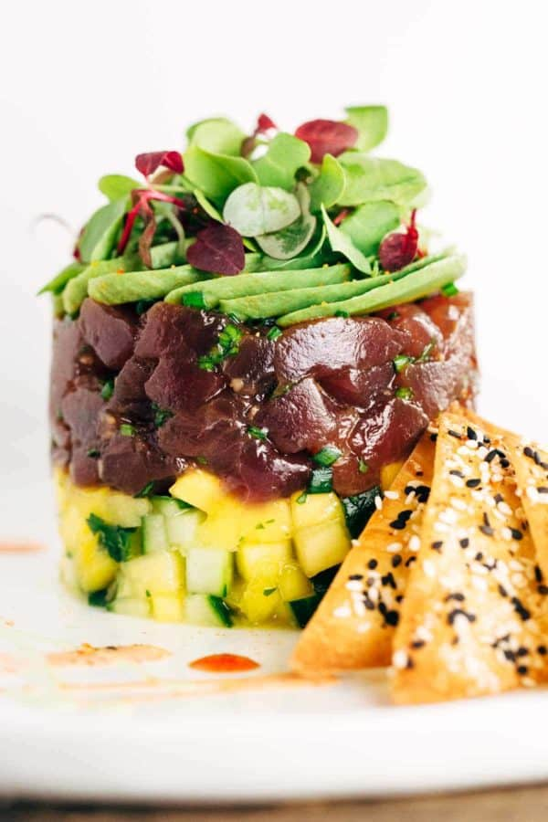 Ahi Tuna tower with layers of cucumber and avocado slices