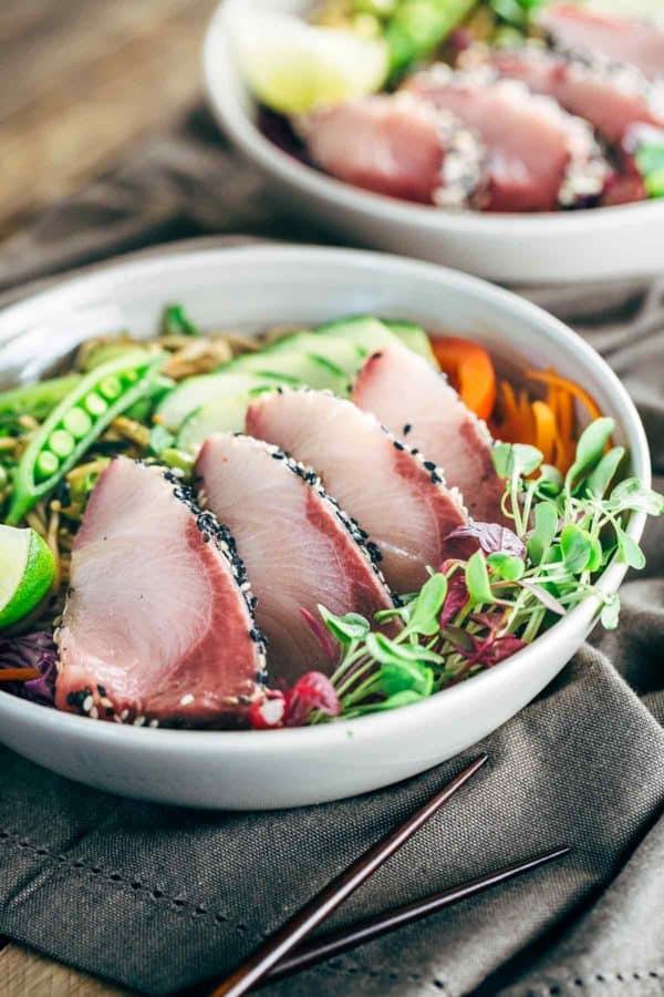 Hamachi with edamame soba noodle salad