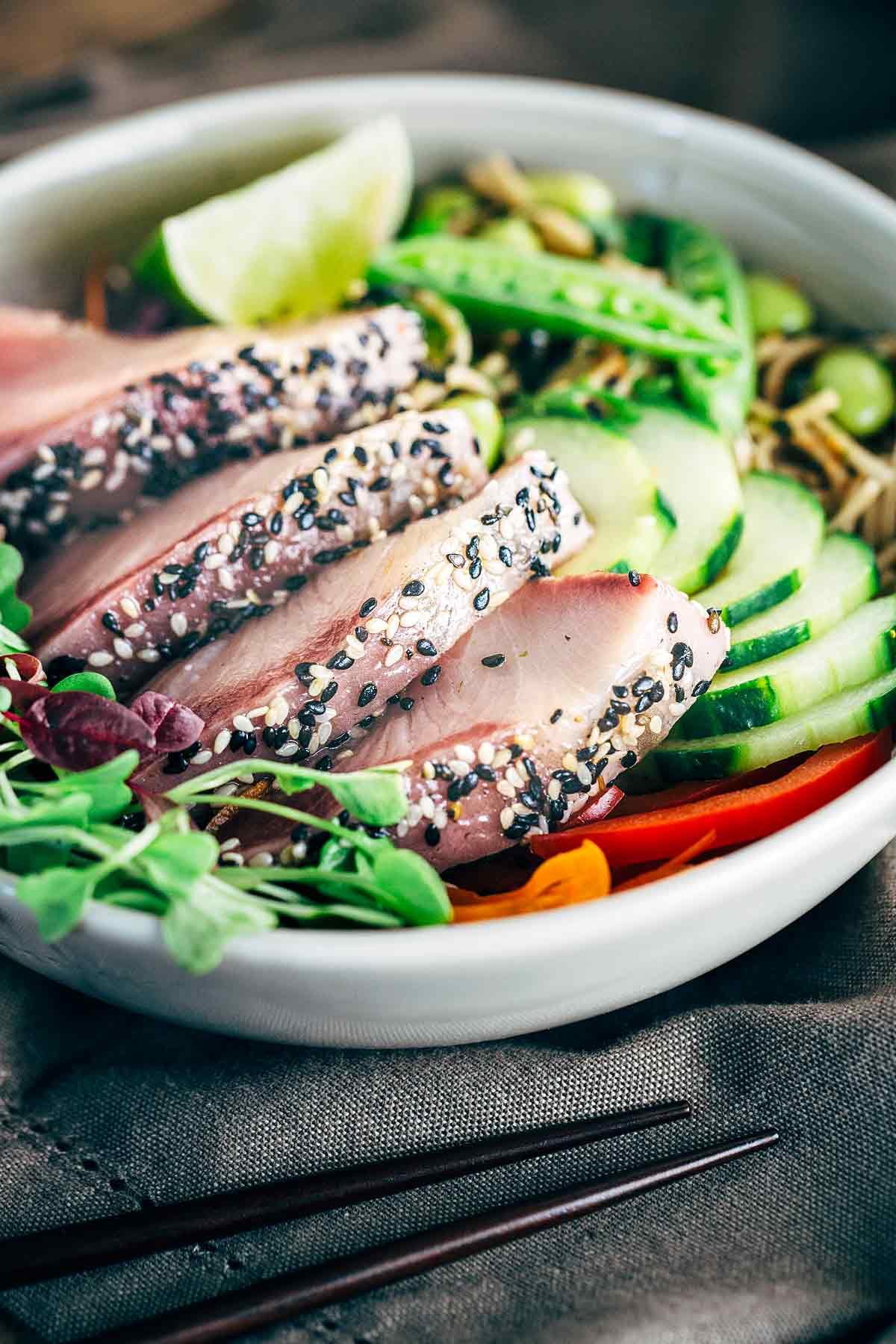 Sesame Crusted Hamachi with Edamame Soba Noodle Salad - A simple yet elegant meal featuring luxurious yellowtail served with savory noodles and crisp vegetables | jessicagavin.com