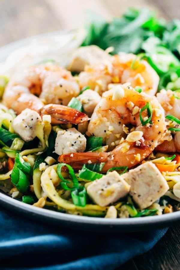 Bowl of shrimp Pad Thai with Spiralized vegetable noodles