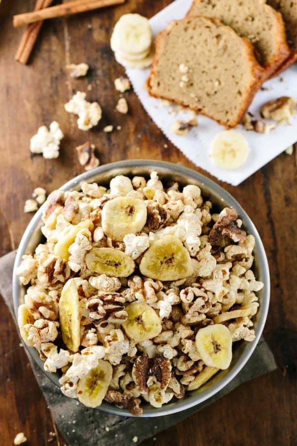 15 minute Banana Bread Flavored Popcorn Snack