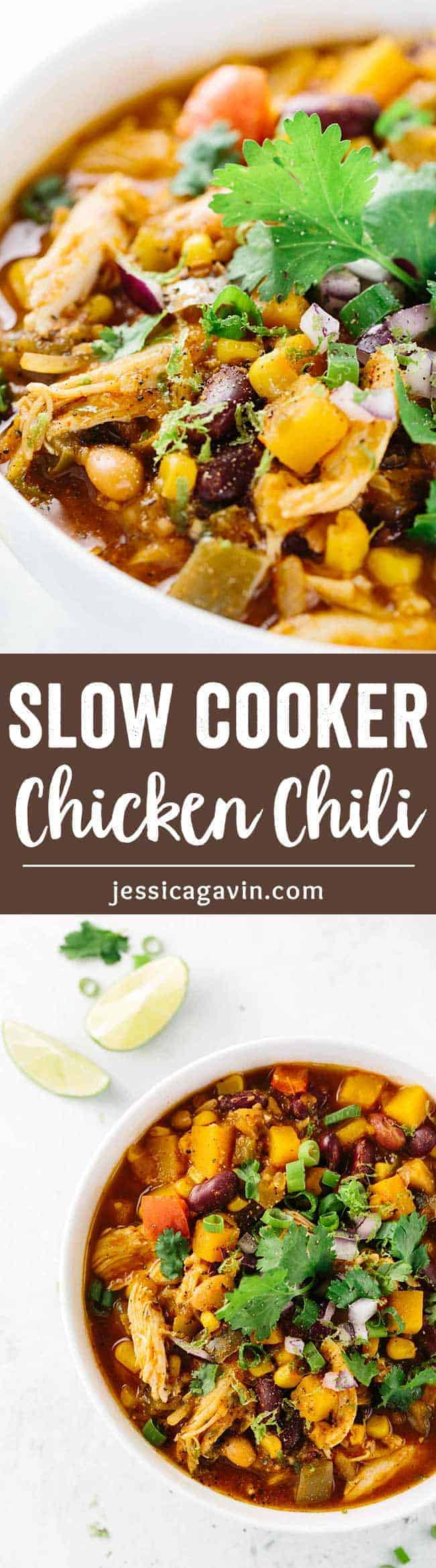 Slow Cooker Chicken Chili & Jalapeño Cornbread - A wholesome recipe made with ease! Enjoy this satisfying spicy chili with a slice of savory cornbread.
