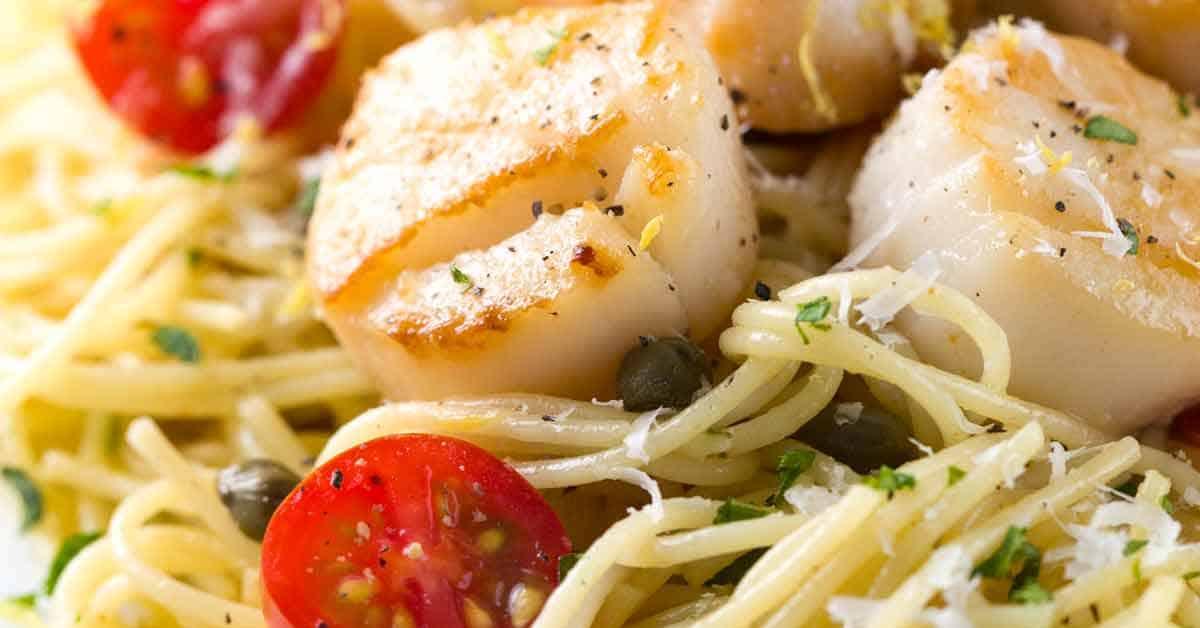 Pan seared scallops with lemon caper pasta