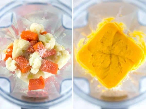 Making a puree using a blender