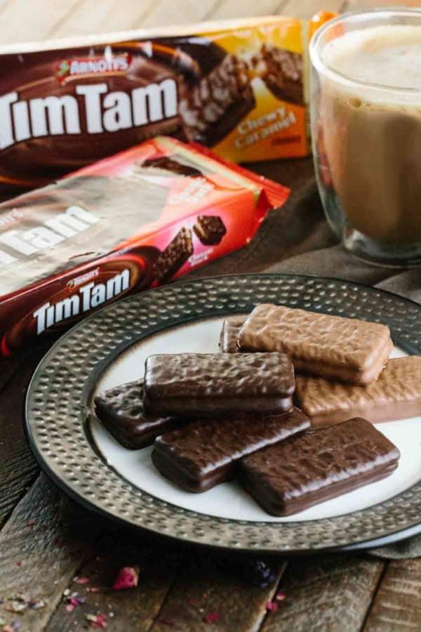 plate of timtam chocolate bars