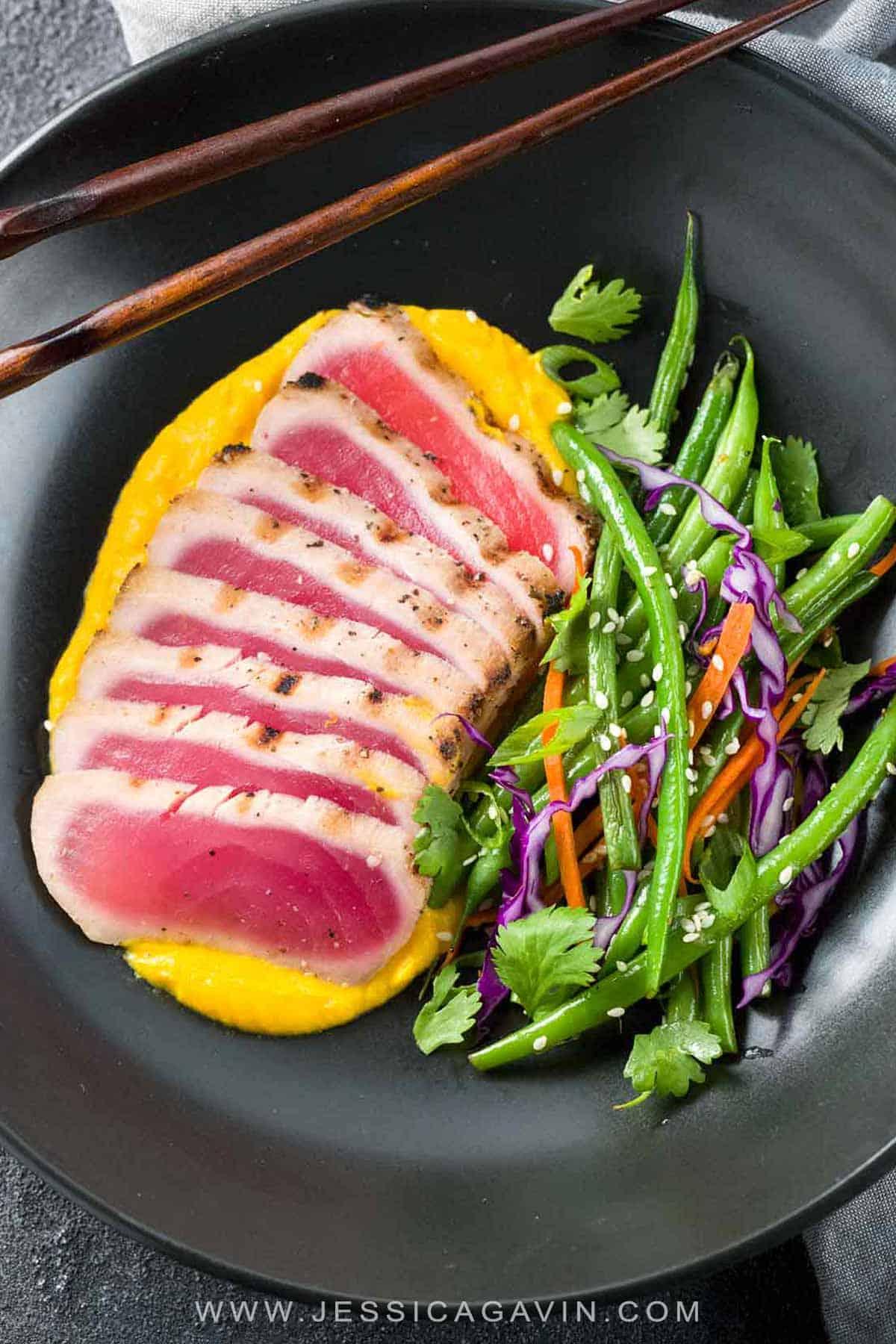 Seared Ahi Tuna with Crispy Sesame Green Beans - A gourmet recipe made right at home! Silky cauliflower carrot ginger puree adds a touch of elegance with ease. #searedahi #ahituna #japanese #tunarecipe